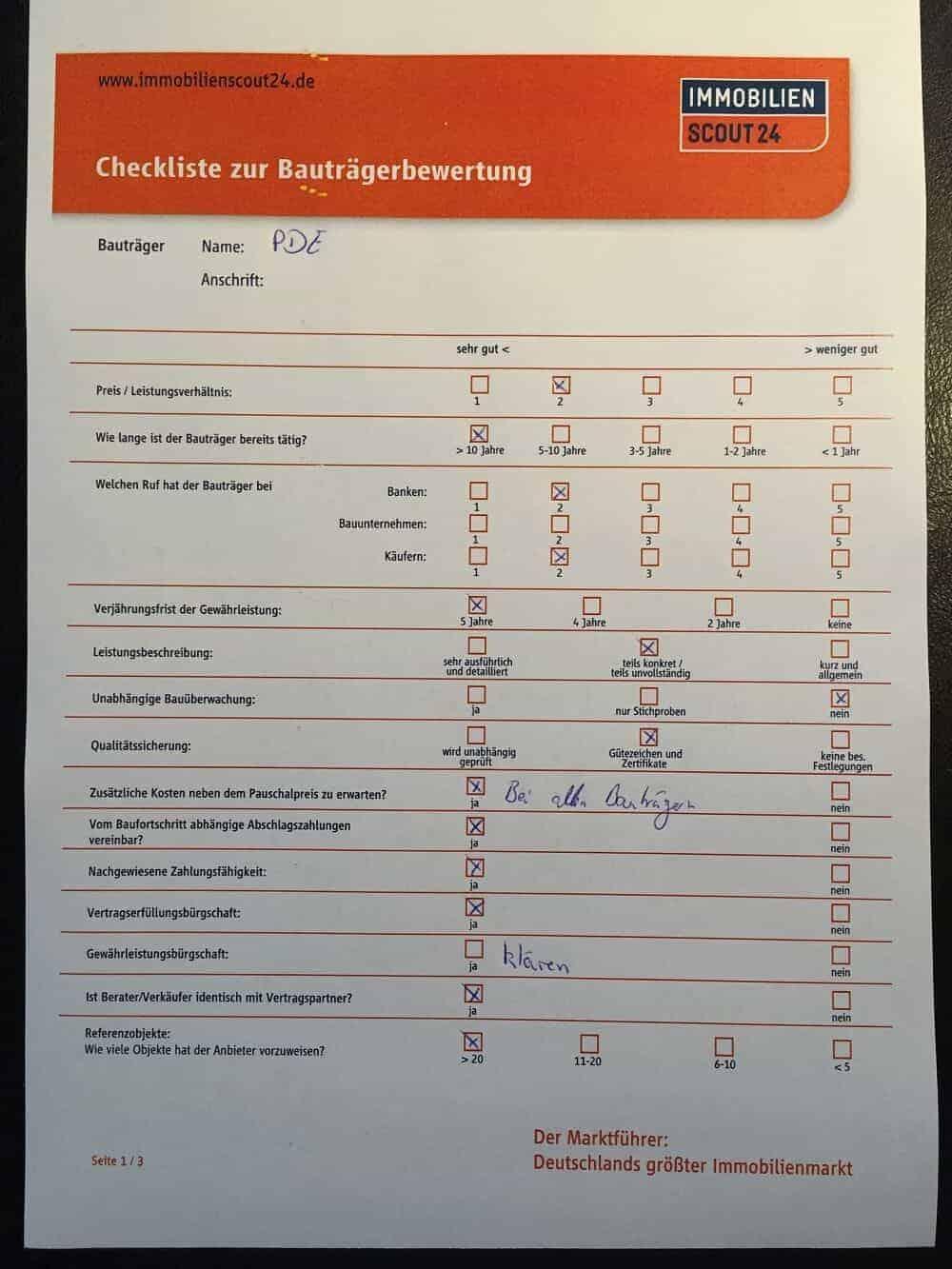 Checkliste Bauträger - Plötzlich Bauherr Hausbau Blog