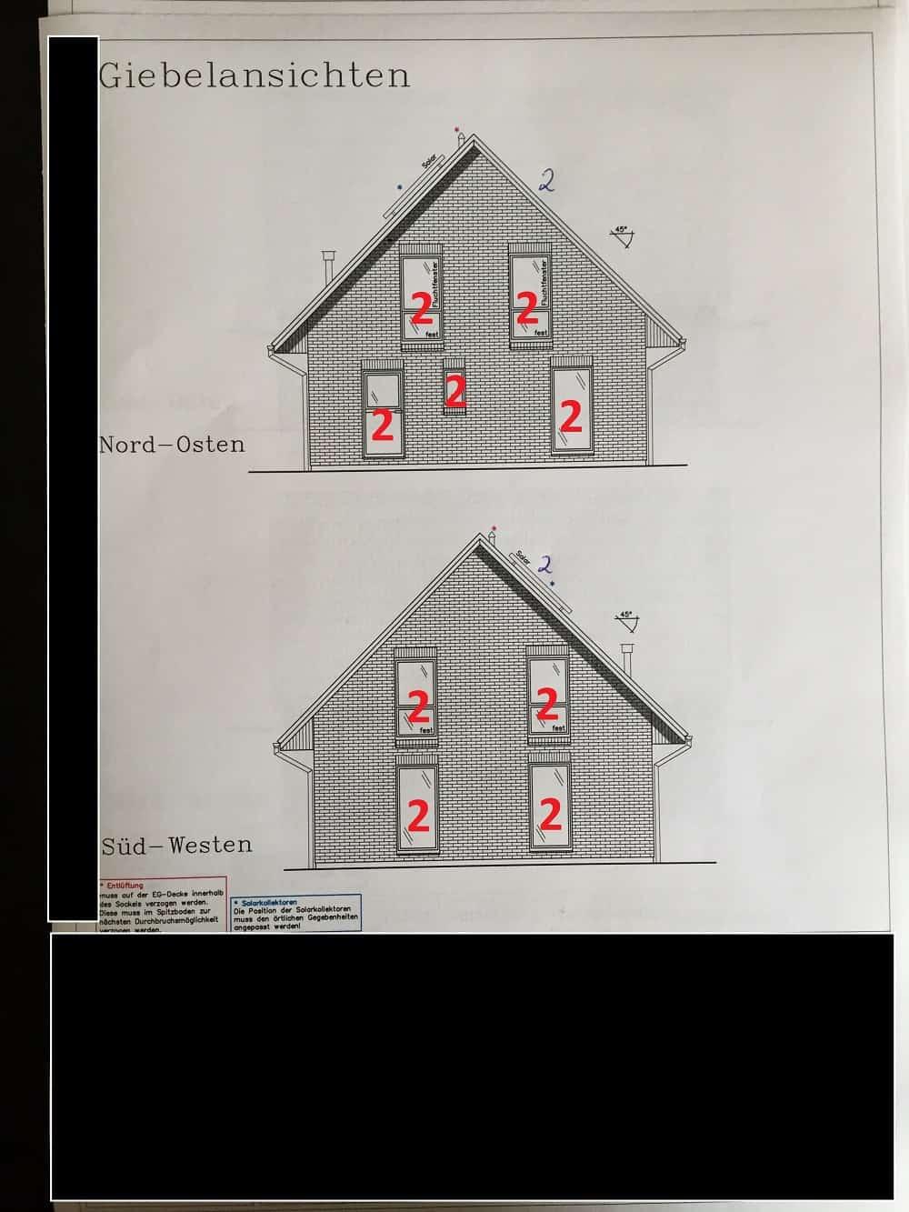 Alle Fenster und Türen auf dem Grundriss müssen markiert werden