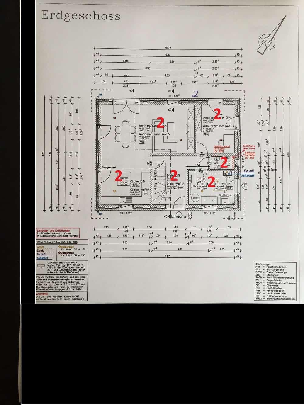 In der Abgeschlossenheitserklärung muss jeder einzelne Raum im Grundriss markiert werden, selbst wenn das gesamte Gebäude dir gehört