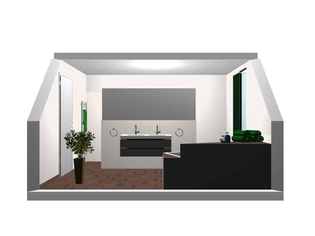 Badezimmerplanung Dachschrägen Visualisierung