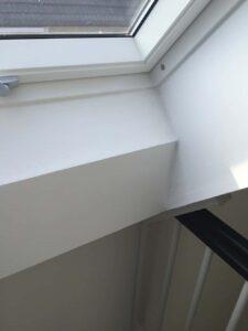Rahmen von Dachfenster fertig gespachtelt
