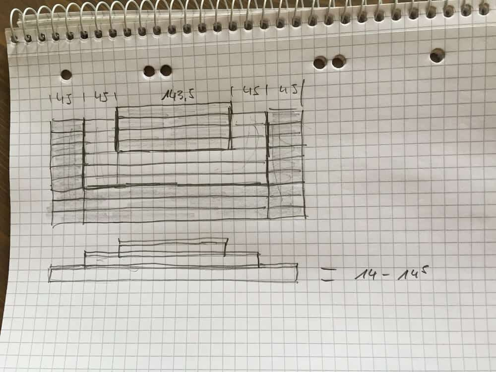 Erste Skizze von der Außentreppe für den Hauseingang