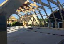 Der Dachstuhl ist fast fertig