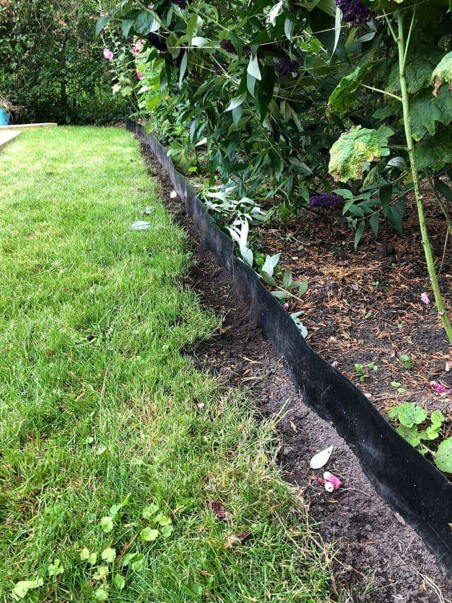 Entlang der Bambussperre haben wir komplett den Rasen entfernt, um die Beeteinfassung aus Holz setzen zu können