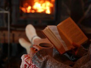 eine heiße tasse tee und ein schönes buch am kamin was wünscht man sich mehr