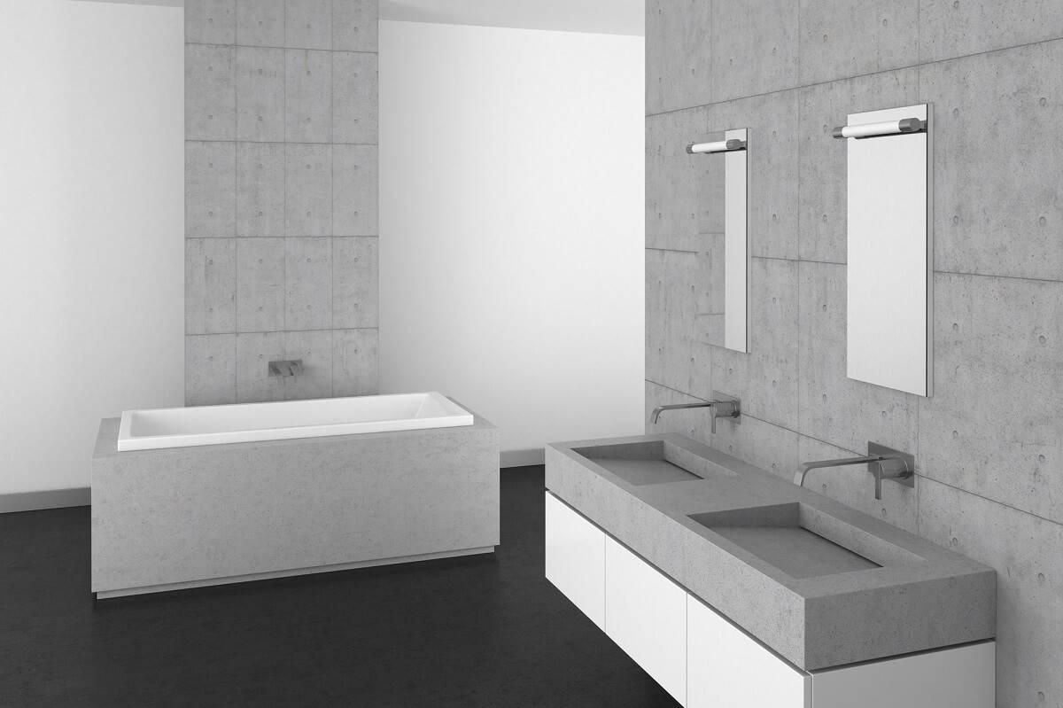 Das Waschbecken aus Beton kann in Verbindung mit dem richtigen Unterschrank ein tolles Highlight im Badezimmer sein