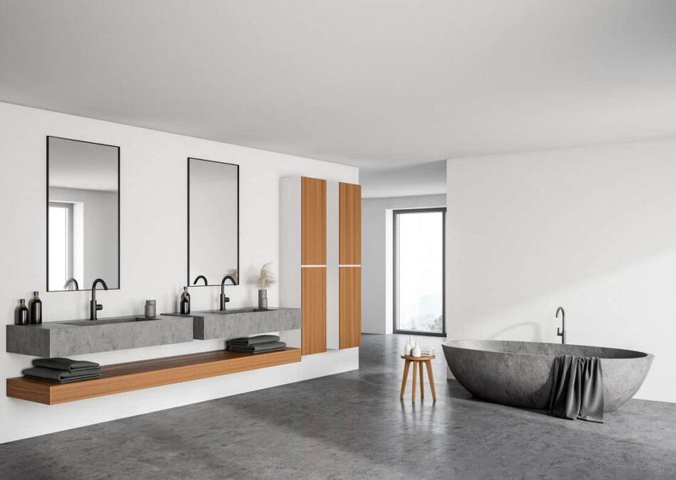 ein ablagefach unterhalb von einem waschtisch aus beton ist nicht nur praktisch sondern sieht auch super aus