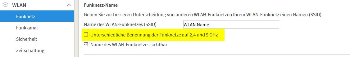 Damit MESH einwandfrei funktioniert, sollten der Name des WLANs bei allen Funknetzen identisch sein