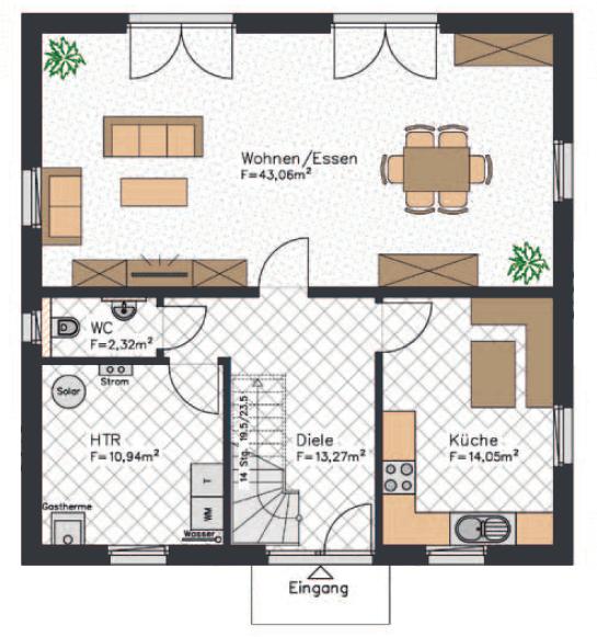 Der Grundriss einer Stadtvilla mit insgesamt etwa 165 qm² Wohnfläche - Hier das Erdgeschoss