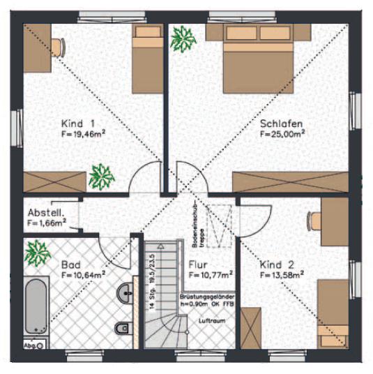 Der Grundriss einer Stadtvilla mit insgesamt etwa 165 qm² Wohnfläche - Hier das Obergeschoss