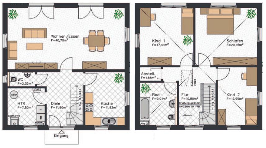 Grundriss einer Stadtvilla mit etwa 150 qm² Wohnfläche