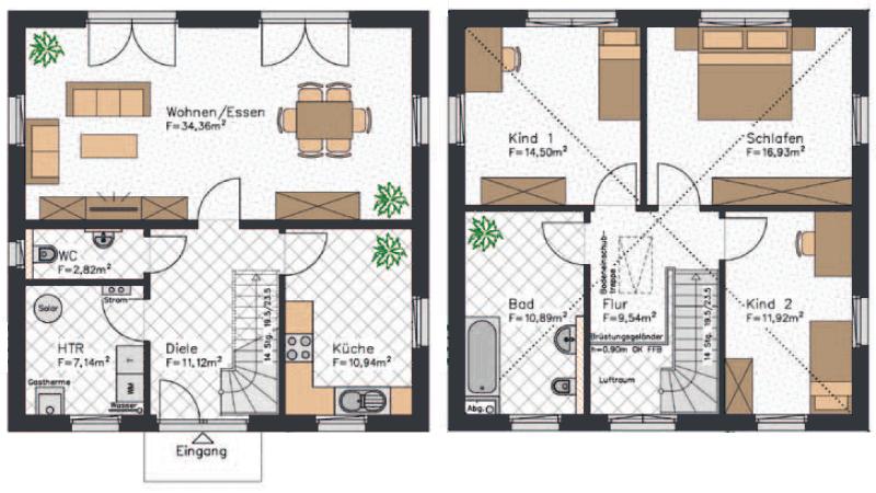 Klassischer Grundriss einer Stadtvilla mit separater Küche und zwei Kinderzimmern