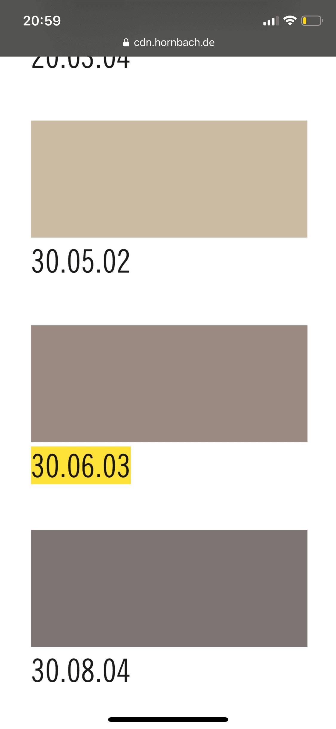 Hornbach Farbkarte, Farbcode 30.06.03 von unserem Flur