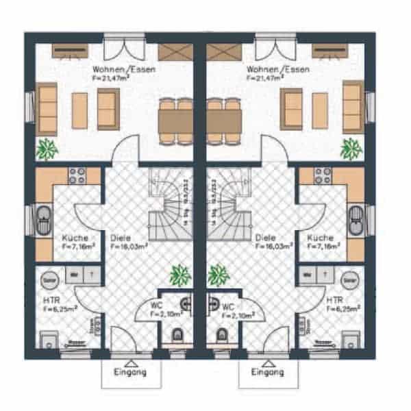 doppelhaus grundriss erdgeschoss dieser grundriss beinhaltet einen grossen flur der wohn und essbereich ist hingegen etwas kleiner ausgefuehrt