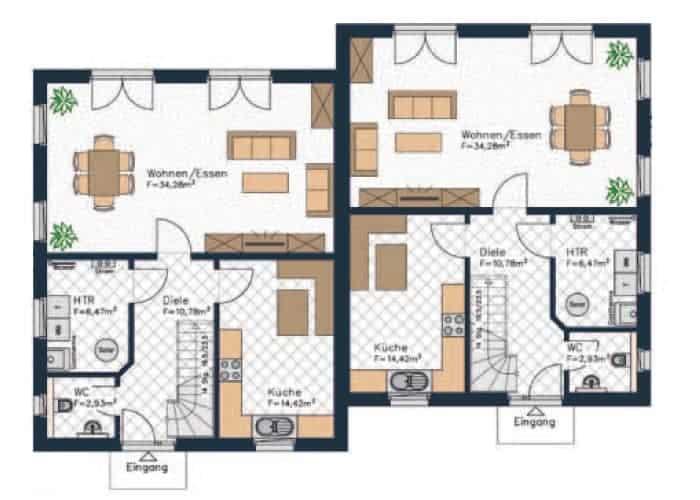 doppelhaushaelfte grundriss in diesem erdgeschoss ist der wohn und essbereich und die kueche etwas grosszuegiger waehrend der technikraum sehr klein ist