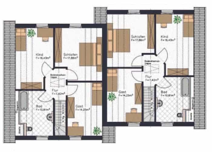 doppelhaushaelfte grundriss in diesem obergeschoss sind alle raeume angenehm gross und verfuegen ueber dachschraegen