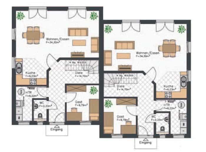 grundriss doppehaus dieses erdgeschoss verfuegt ueber einen offenen wohn und essbereich und ein gaestezimmer die kueche hingegen ist etwas kleiner gehalten