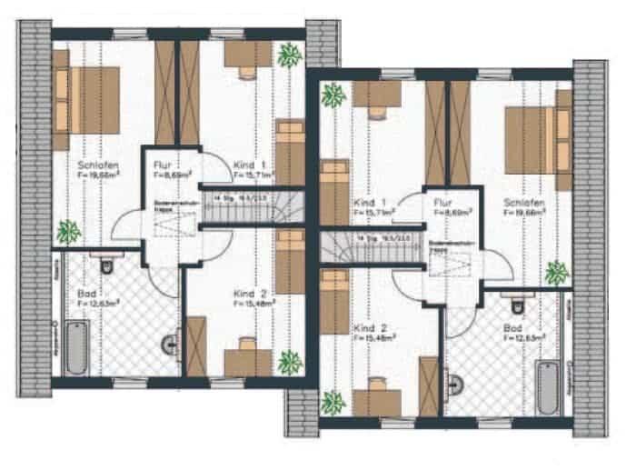 grundriss doppelhaus dieses obergeschoss mit dachschraegen verfuegt ueber eine recht klassische aufteilung mit vier zimmern