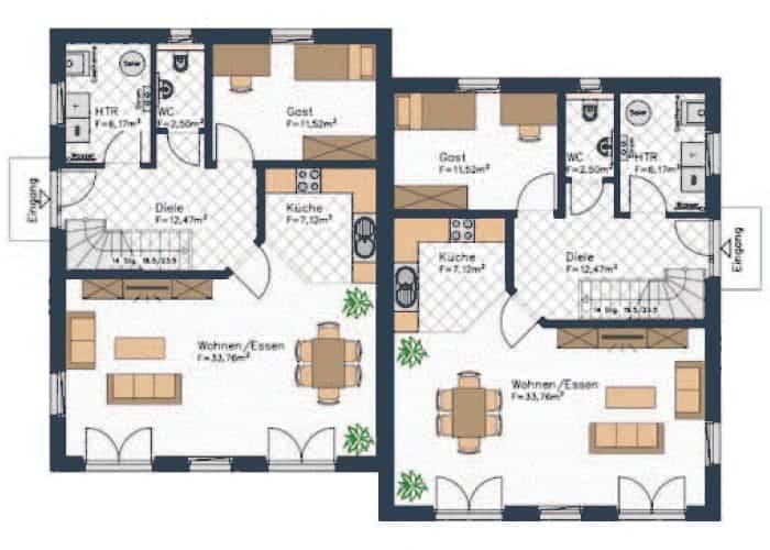 grundriss doppelhaushaelfte diese doppelhaeuser verfuegen im erdgeschoss neben einem grossen wohnzimmer einem gaeste wc und einem haustechnikraum auch ueber ein gaestezimmer