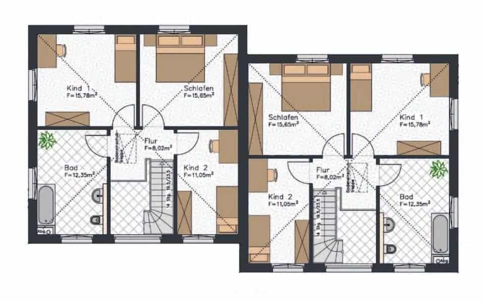 stadtvilla doppelhaus grundriss dachgeschoss grundrisse mit zwei kinderzimmern schlafzimmer und badezimmer