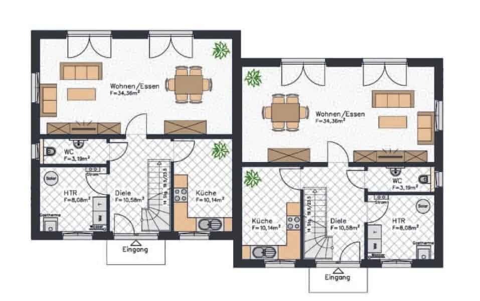 stadtvilla doppelhaus grundriss erdgeschoss grundrisse mit wohnen kochen haustechnikraum wc und kueche