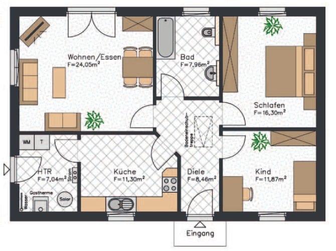 Bungalow Grundriss für ein kleines Haus mit drei Zimmern und etwa 87 m²