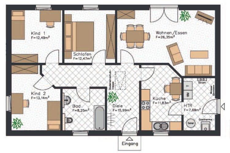 Dieser Grundriss vom Bungalow mit etwa 108 m² ist zwar nicht riesig, aber als kleines Haus für Familien geeignet