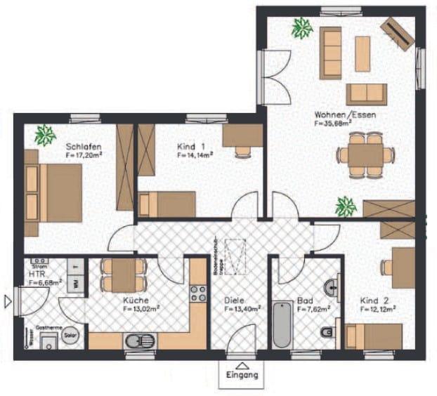 Dieser Winkelbungalow Grundriss verfügt über etwa 120 m² - Beachtet werden sollte, dass der Weg von der Küche ins Wohnzimmer etwas weiter ist