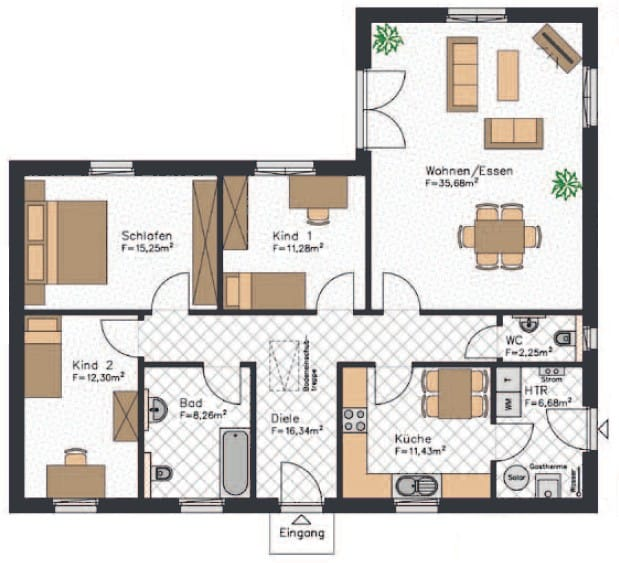 Dieser Winkelbungalow Grundriss verfügt über etwa 120m² und zwei Kinderzimmer