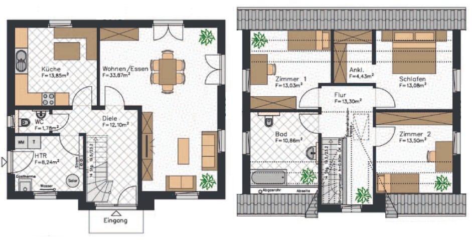 Friesenhaus Grundriss mit etwa 138 qm², einem großzügigen Wohn- und Essbereich, sowie einem Schlafzimmer mit Ankleidezimmer