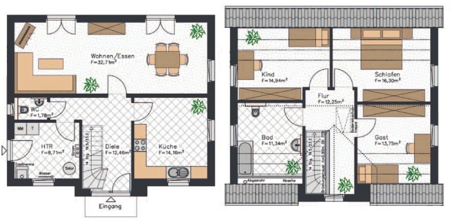 Kapitänshaus Grundriss mit 138 qm² und einer klassischen Aufteilung mit zwei Kinderzimmern im Obergeschoss