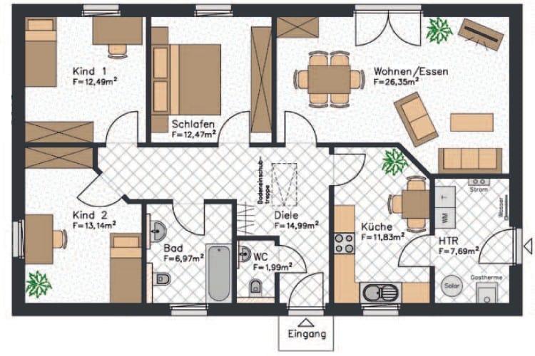Mit etwa 108 m² ist dieser Bungalow nicht der größte, verfügt aber über zwei Kinderzimmer und ein separates Gäste-WC