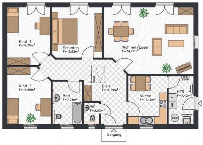 Mit etwa 127 m² ist dieser Bungalow Grundriss gut geeignet für Familien mit bis zu zwei Kindern