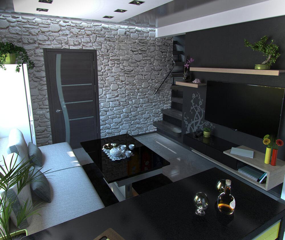 Verkleidete Wände machen einen Raum oft zu einem besonderen Highlight, so wie in diesem Beispiel die Steinoptik