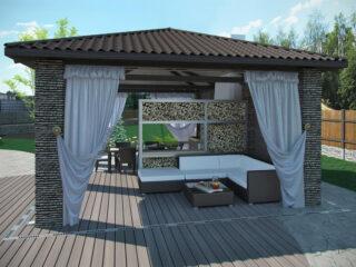Beschattung im Garten über einen Pavillon - alternativ eignet sich auch eine Pergola super